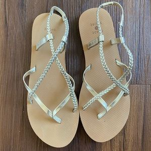 Silver champagne gold strappy flip flops sandals